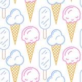 Nahtloses Muster des Eiscreme-Vektors Sommerkollektion Stockfotografie