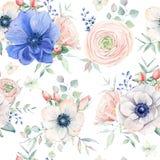 Nahtloses Muster des eleganten Aquarells mit Blumen Lizenzfreie Stockbilder