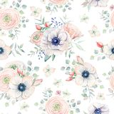 Nahtloses Muster des eleganten Aquarells mit Blumen Stockfotografie