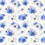 Nahtloses Muster des eleganten Aquarells mit Blumen Lizenzfreies Stockfoto
