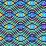 Nahtloses Muster des exotischen Vektors mit Wellen, Kreisen und Blumen Stockfotografie