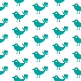 Nahtloses Muster des fantastischen Schattenbildes des Vogels blauen auf einem weißen Hintergrund Lizenzfreie Stockfotos