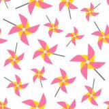 Nahtloses Muster des Feuerrads Bunte Papierspielzeugwindmühlen auf weißem Hintergrund Stockfotografie