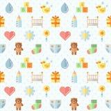 Nahtloses Muster des flach mehrfarbigen netten Vektors des Materials des Babys (Mädchen und Junge) Minimalistic-Design Teil zwei Lizenzfreie Stockbilder