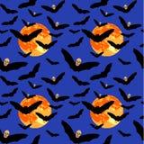 Nahtloses Muster des Fliegenschlägers mit Schädelkopf und Vollmond an Lizenzfreies Stockbild