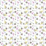 Nahtloses Muster des Frühlinges, Regenschirmentwurf und Blumenaquarell stock abbildung