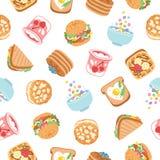Nahtloses Muster des Frühstücks Lizenzfreie Stockfotografie