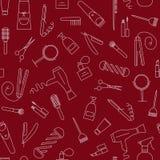 Nahtloses Muster des Friseursalons mit Linie Ikonen Stockfoto