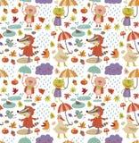 Nahtloses Muster des frohen Herbstes mit nettem Tier lizenzfreie abbildung