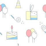 Nahtloses Muster des Geburtstages Nette lineare Elemente Kuchen, Geschenkbox, Luftballone, Geburtstagskappe Flache Illustration d Stockbilder