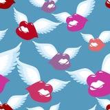 Nahtloses Muster des geflügelten Kusses Küssen Sie mit Flügelhintergrund Stockbild