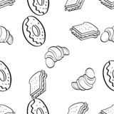 Nahtloses Muster des Gekritzels des Wurstkleinen kuchens lizenzfreie stockbilder