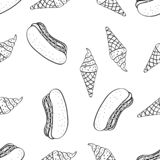Nahtloses Muster des Gekritzels des Wurstkleinen kuchens lizenzfreie stockfotografie