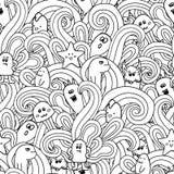 Nahtloses Muster des Gekritzelvektors mit Monstern Lustige Monstergraffiti kann für Hintergründe, T-Shirts verwendet werden Stockfotos