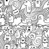 Nahtloses Muster des Gekritzelvektors mit Monstern Lustige Monstergraffiti Kann für Hintergründe verwendet werden Stockbild