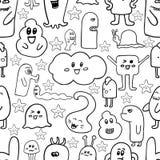 Nahtloses Muster des Gekritzelvektors mit Monstern Lustige Monstergraffiti Kann für Hintergründe verwendet werden Lizenzfreie Stockfotos