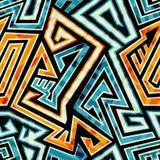 Nahtloses Muster des gelben Labyrinths Stockbild
