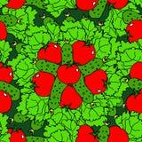 Nahtloses Muster des Gemüses mit Tomaten, Gurken und Salat Lizenzfreie Stockfotos