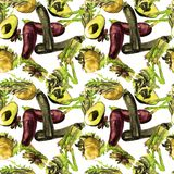Nahtloses Muster des Gemüses Wiederholbares Muster mit gesundem Lebensmittel Lizenzfreie Stockbilder