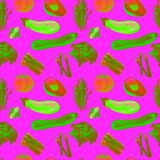 Nahtloses Muster des Gemüses Wiederholbares Muster mit gesundem Lebensmittel Stockbilder