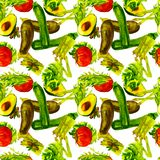Nahtloses Muster des Gemüses Wiederholbares Muster mit gesundem Lebensmittel Stockfotografie