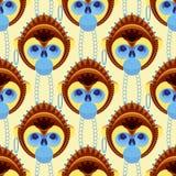 Nahtloses Muster des geometrisch stilisierten Affekopfes Stockfotos