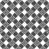 Nahtloses Muster des geometrischen Schwarzweiss-Vektors der Windungen Stammes- Hintergrund der Waffelwiederholung Dekoratives kar stock abbildung