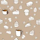 Nahtloses Muster des geschmackvollen Vektors - Kuchen, Kekse, p Lizenzfreie Stockfotografie