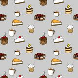 Nahtloses Muster des geschmackvollen Vektors - Kuchen, Kekse, p vektor abbildung
