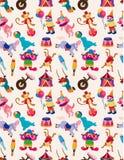 Nahtloses Muster des glücklichen Zirkuses der Karikatur Stockbild