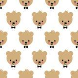 Nahtloses Muster des glücklichen Teddybären Netter Vektorhintergrund mit Jungenteddybären Lizenzfreie Stockfotografie