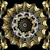 Nahtloses Muster des Gold-barocken Blumen-Vektors 3d Dekorativer Hintergrund mit runder Mandala im barocken viktorianischen Stil  stock abbildung