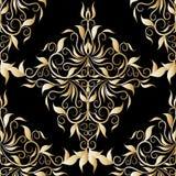 Nahtloses Muster des Golddamastes Schwarzer Hintergrundmit blumenesprit des Vektors Lizenzfreie Stockbilder