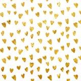 Nahtloses Muster - nahtloses Muster des goldenen Folienherzens Stockfoto