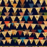 Nahtloses Muster des goldenen Funkelnflaggen-Falles Lizenzfreies Stockfoto