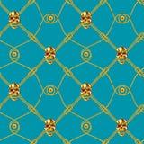 Nahtloses Muster des goldenen Schädels Stockbilder