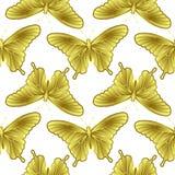 Nahtloses Muster des goldenen Schmetterlinges Stockbild