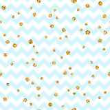 Nahtloses Muster des goldenen Tupfens Goldkonfettifunkeln-Zickzackblau 1 lizenzfreie abbildung