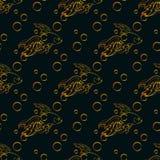 Nahtloses Muster des Goldfisches Stockbilder