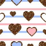 Nahtloses Muster des Goldfunkeln-Herzens Symbol der Liebe, Valentinstagfeiertag Entwurfstapete, Hintergrund, Gewebebeschaffenheit stock abbildung