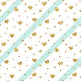 Nahtloses Muster des Goldherzens Blau-weiße geometrische Streifen, goldene Konfettiherzen Symbol der Liebe, Valentinstagfeiertag Stockfotografie