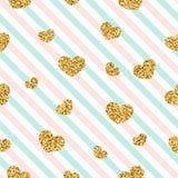 Nahtloses Muster des Goldherzens Rosa-blau-weiße geometrische Streifen, goldene Konfettiherzen Symbol der Liebe, Valentinstag vektor abbildung