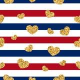 Nahtloses Muster des Goldherzens Rot-blau-weiße geometrische Streifen, goldene Konfettiherzen Symbol der Liebe, Valentinstag stock abbildung