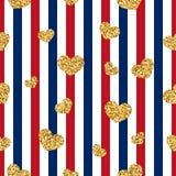 Nahtloses Muster des Goldherzens Rot-blau-weiße geometrische Streifen, goldene Konfettiherzen Symbol der Liebe, Valentinstag lizenzfreie abbildung