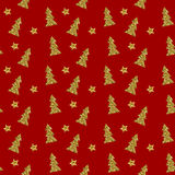 Nahtloses Muster des Goldweihnachtsbaums auf rotem Hintergrund Auch im corel abgehobenen Betrag Lizenzfreie Stockbilder