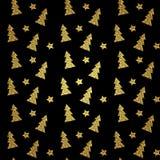 Nahtloses Muster des Goldweihnachtsbaums auf schwarzem Hintergrund Auch im corel abgehobenen Betrag Stockfoto