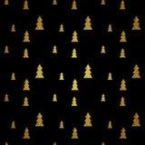 Nahtloses Muster des Goldweihnachtsbaums auf schwarzem Hintergrund Vektor Stockfoto