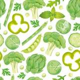 Nahtloses Muster des grünen Gemüses Lizenzfreie Stockfotos