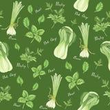 Nahtloses Muster des grünen Gemüses mit Beschriftung: Zwiebel, Petersilie, Basilikum und bok choy, Aquarellmalerei stock abbildung
