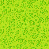 Nahtloses Muster des grünen Laubkarikatur-Vektors Lizenzfreie Stockfotografie